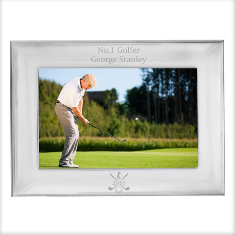 Personalised Golf 6x4 Landscape Silver Photo Frame