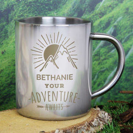 Personalised 'Adventure Awaits' Stainless Steel Mug