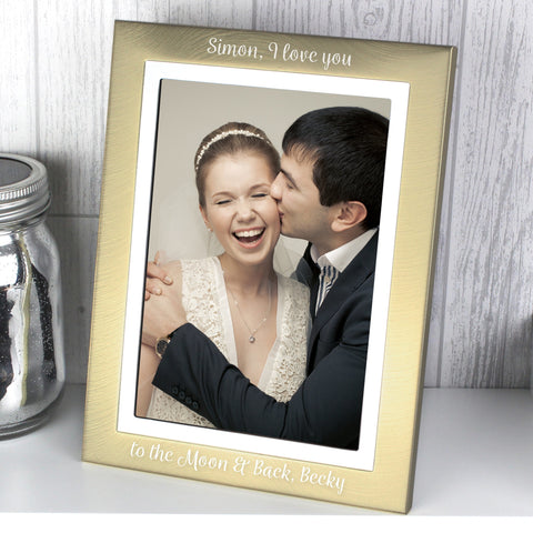 Personalised Scripted Gold and Silver Brushed 5x7 Photo Frame
