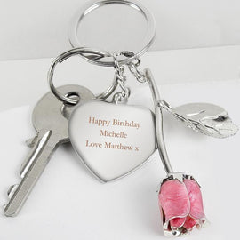 Personalised Silver Plated Pink Rose Keyring