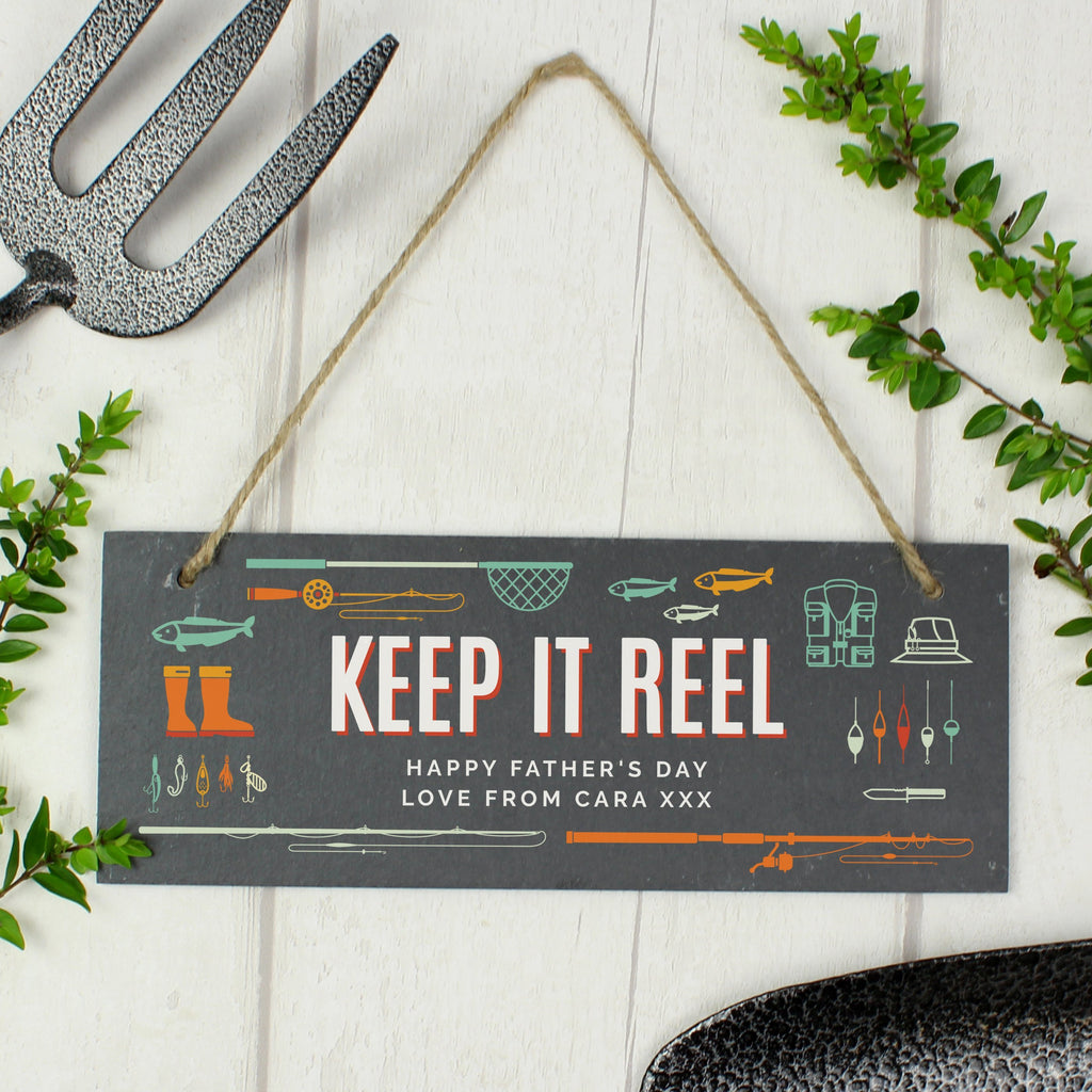"Personalised ""Keep It Reel"" Printed Hanging Slate Plaque"