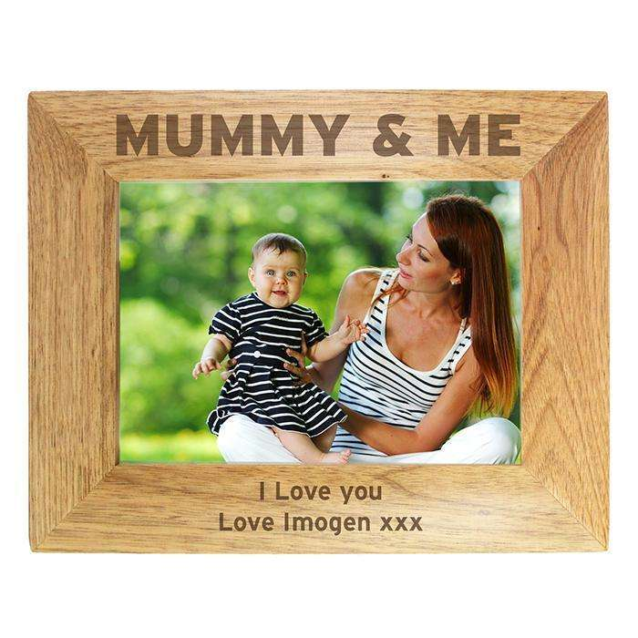 Personalised 7x5 Mummy & Me Wooden Photo Frame