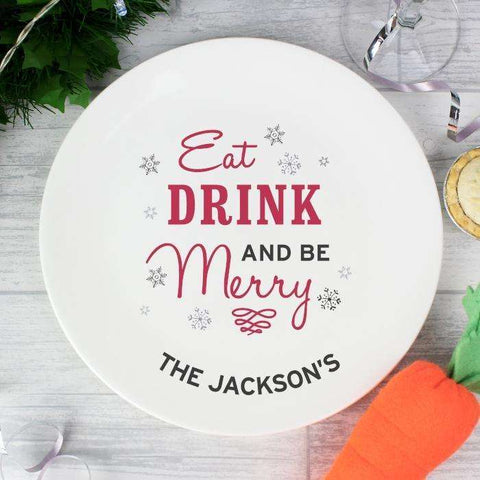 Personalised Eat Drink and Be Merry Christmas Plate