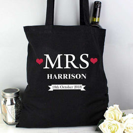 Personalised Black Cotton Bag