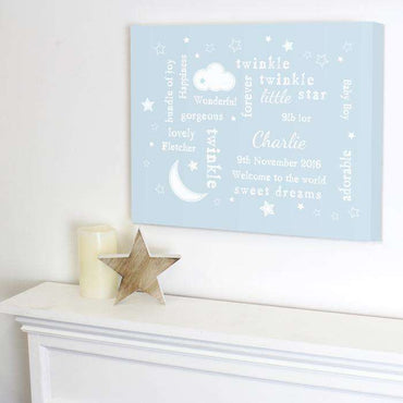 Personalised Twinkle Twinkle Typography Canvas - Pink or Blue