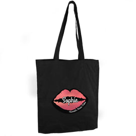 Personalised Rose Gold Lips Hen Party Black Cotton Bag