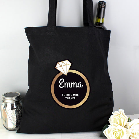 Personalised Gold Bling Ring Hen Party Black Cotton Bag