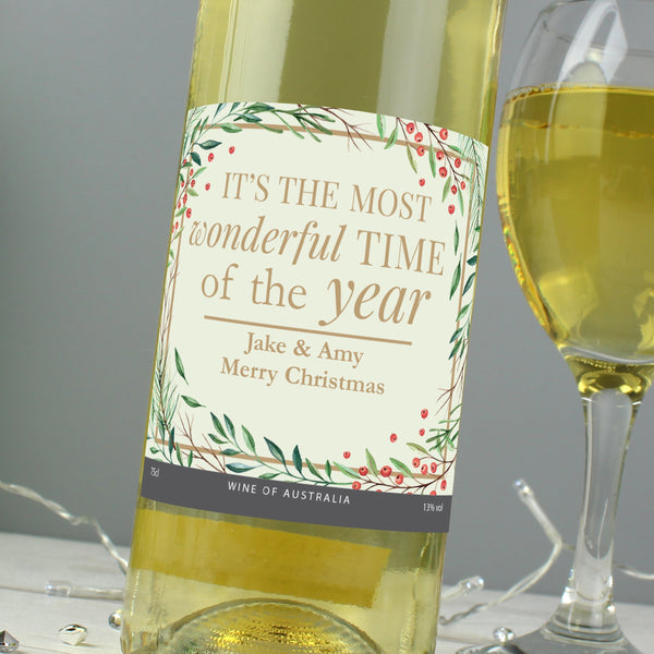 Personalised 'Wonderful Time of The Year' Christmas White Wine