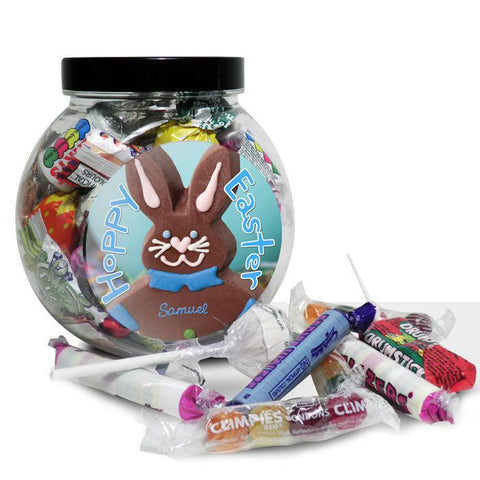 Personalised Pink/Blue Bunny Sweet Jar