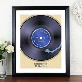 Personalised Retro Vinyl Black Framed Poster Print