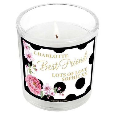 Personalised Floral Dot Scented Jar Candle
