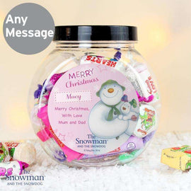 Personalised The Snowman and the Snow-dog Sweet Jar