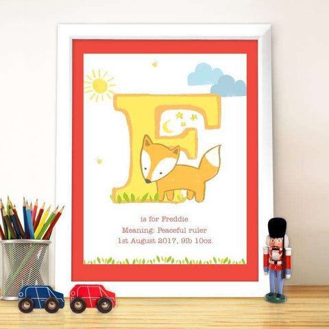 Personalised Animal White Framed Poster Print