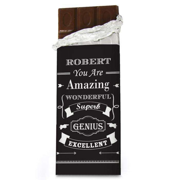 Personalised Vintage Typography Chocolate Bar