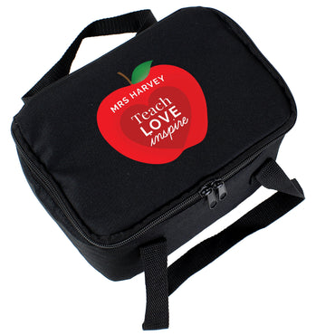 Personalised Teachers Apple Black Lunch Bag
