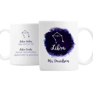 Personalised Libra Zodiac Star Sign Mug