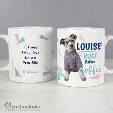 Personalised Rachael Hale 'Ruff Before Coffee' Dog Mug