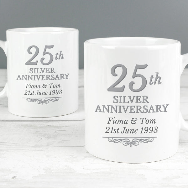 Personalised 25th, 40th or 50th Anniversary Mug Set