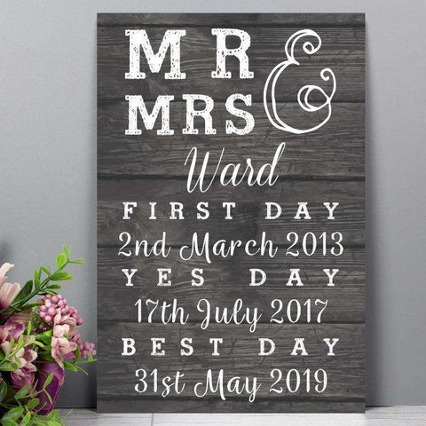 Personalised Mr & Mrs, First Day, Yes Day & Best Day Metal Sign