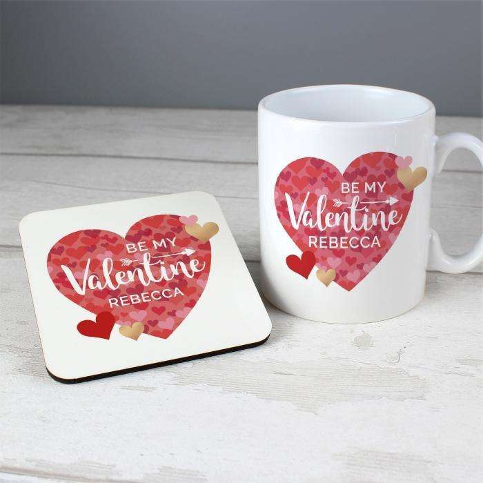 Personalised Valentine's Day Confetti Hearts Mug & Coaster Set