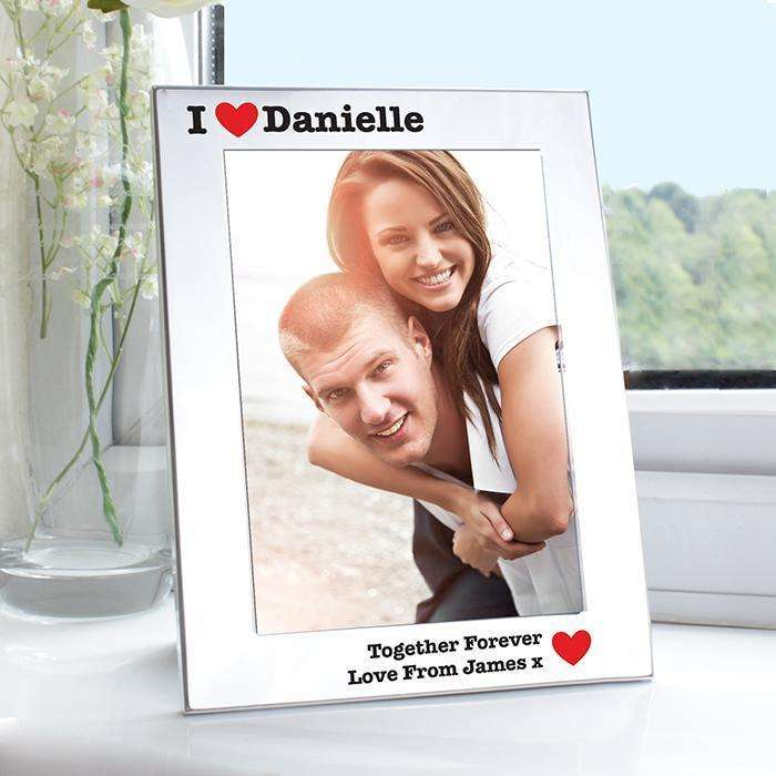Personalised Silver 5x7 I Heart Photo Frame