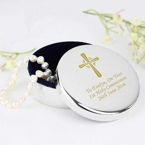Personalised Cross Trinket Box - Ideal For Rosary Beads