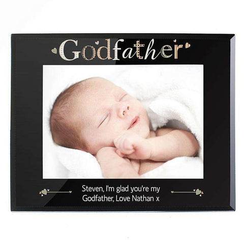 Personalised Black Glass 7 x 5 Photo Frame
