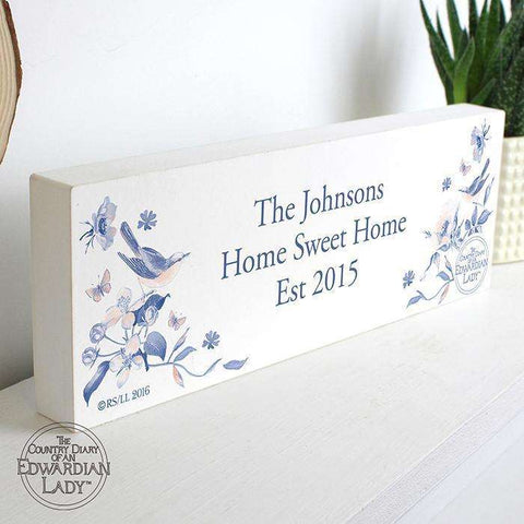 Personalised Country Diary Wooden Block Sign