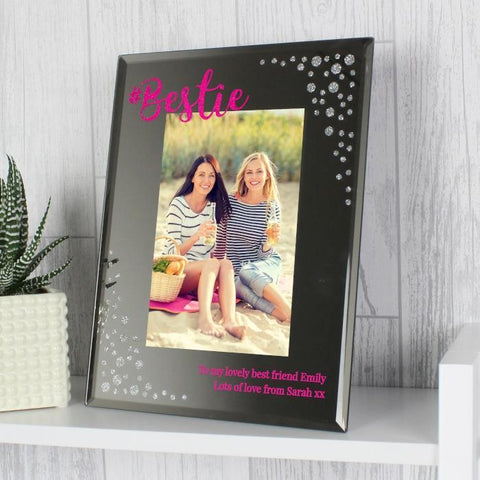 Personalised Bestie 4x6 Diamante Glass Photo Frame