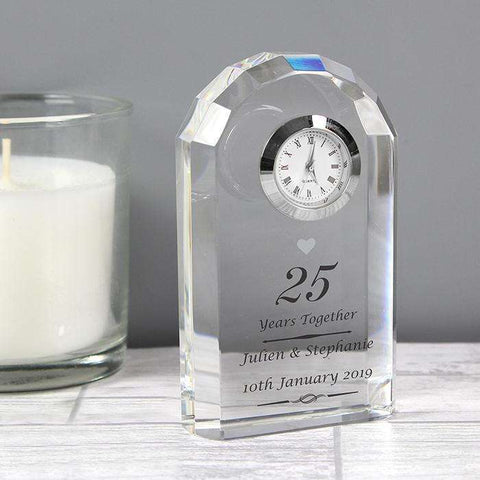 Personalised Anniversary Crystal Clock