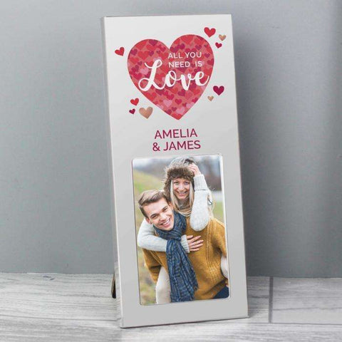 Personalised 'All You Need is Love' Confetti Hearts 2x3 Photo Frame