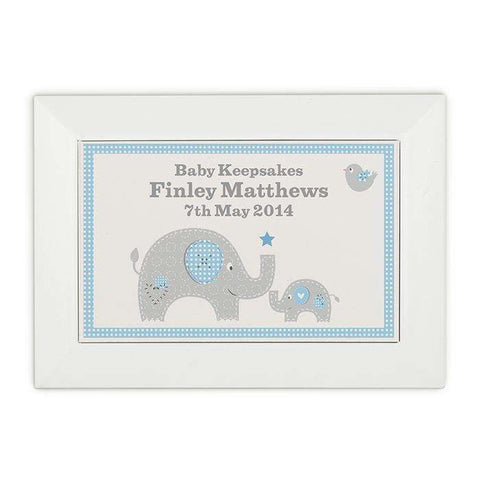 Personalised Baby Elephant White Wooden Keepsake Box