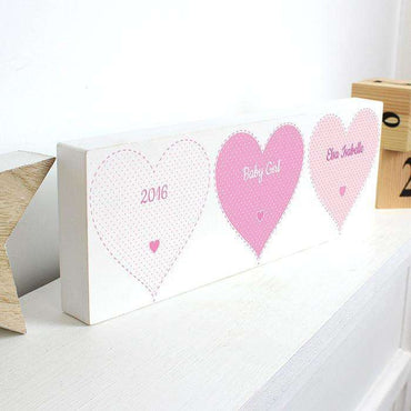 Personalised Stitch & Dot Wooden Block Sign