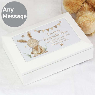 Personalised Hessian Wooden Jewellery Box