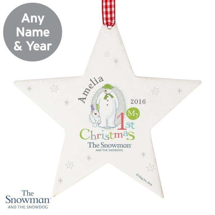 Personalised The Snowman and the Snowdog My 1st Christmas Wooden Star Decoration