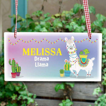 Personalised Llama Wooden Sign