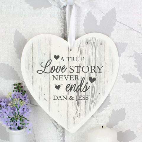 Personalised Love Story 22cm Large Wooden Heart Decoration