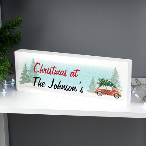 Personalised 'Driving Home For Christmas' Wooden Block Sign