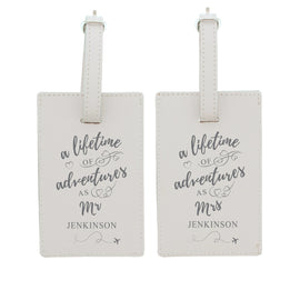 Personalised Mr & Mrs cream luggage tags
