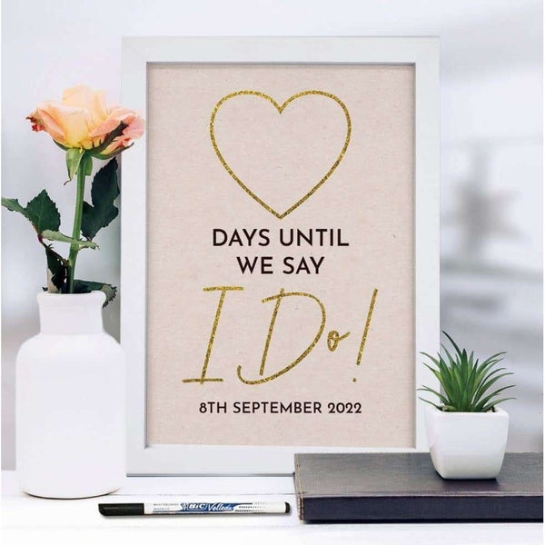 A4 Framed Wedding Countdown & Dry Wipe Pen