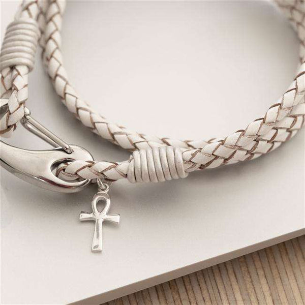 Ankh Cross Leather Wristband