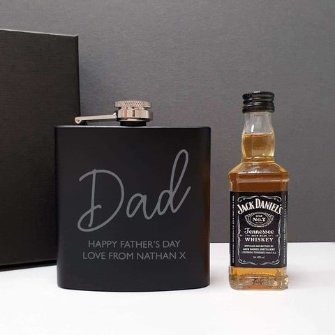 Black Hip Flask and Miniature Jack Daniels