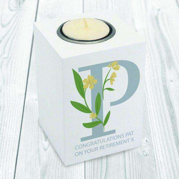 Floral Initial Wooden Tea Light Holder