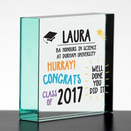 Graduation Well Done Colour Glass Block