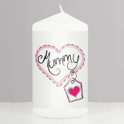 Personalised Heart Stitch Mum Candle