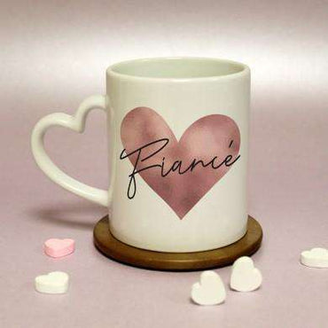 Rose Gold Heart Handled Mug