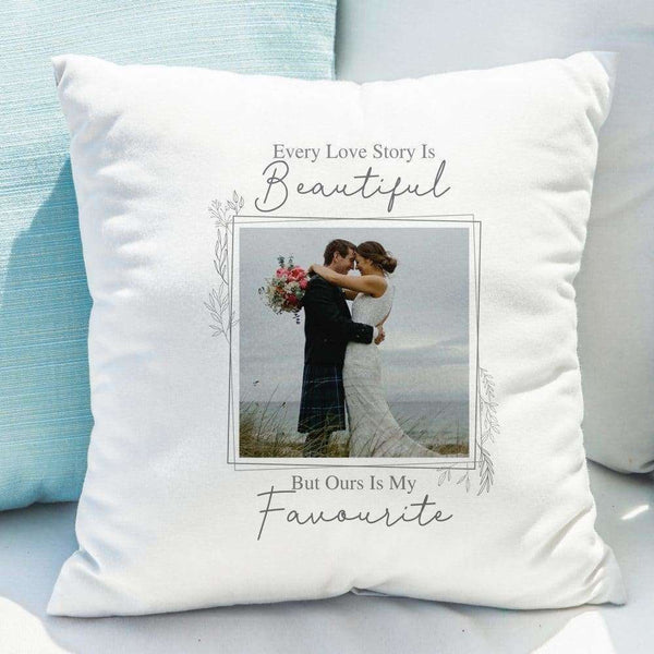 Love Story Photo Upload Cushion