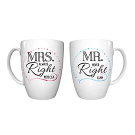 Mr & Mrs Right Conical Mug Set