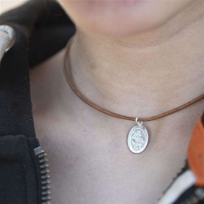 Oval Sterling St Christopher on Leather Necklace