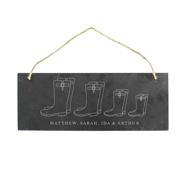 Personalised Welly Boot Family of Three, Four or Five Hanging Slate Plaque